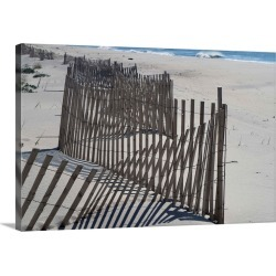 Large Solid-Faced Canvas Print Wall Art Print 30 x 20 entitled Fence, Westhampton Beach, The Hamptons, Long Island, New Yo...