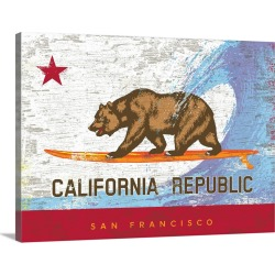 Large Gallery-Wrapped Canvas Wall Art Print 30 x 23 entitled California Surf Bear Flag, San Francisco found on Bargain Bro Philippines from Great Big Canvas - Dynamic for $229.99