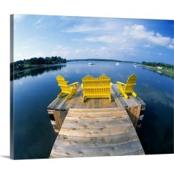 Large Solid-Faced Canvas Print Wall Art Print 30 x 24 entitled Adirondack Chairs on Dock Nova Scotia Canada