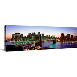 Large Gallery-Wrapped Canvas Wall Art Print 36 x 12 entitled New York State, New York City, High angle view of Brooklyn Br...