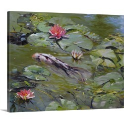 Large Solid-Faced Canvas Print Wall Art Print 30 x 24 entitled Koi and Lilies III found on Bargain Bro Philippines from Great Big Canvas - Dynamic for $189.99