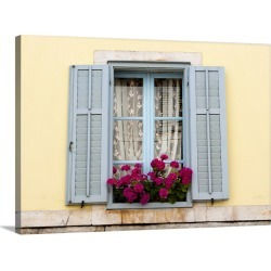 Large Gallery-Wrapped Canvas Wall Art Print 24 x 17 entitled Red flowers in a window box, Croatia