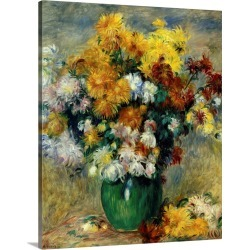 Large Solid-Faced Canvas Print Wall Art Print 24 x 30 entitled Bunch of Chrysanthemums, by 19th century French impressioni...