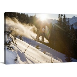 Large Gallery-Wrapped Canvas Wall Art Print 24 x 16 entitled A snowboarder jumping