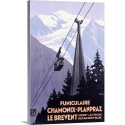 Large Solid-Faced Canvas Print Wall Art Print 20 x 30 entitled Chamonix Mont Blanc, Cable Car France, Vintage Poster, by R...