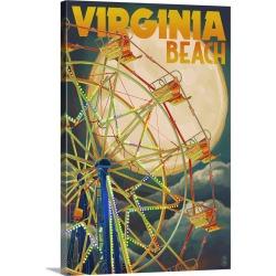 Large Gallery-Wrapped Canvas Wall Art Print 16 x 24 entitled Virginia Beach, Virginia - Ferris Wheen and Full Moon: Retro ...
