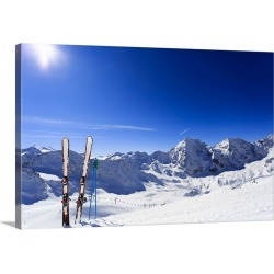 Large Solid-Faced Canvas Print Wall Art Print 30 x 20 entitled Skis sticking in the snow on a mountain slope.