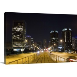 Large Solid-Faced Canvas Print Wall Art Print 30 x 20 entitled Downtown Richmond Virginia at night, Virginia, USA