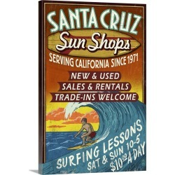 Large Gallery-Wrapped Canvas Wall Art Print 16 x 24 entitled Santa Cruz, California - Sun Shops Surf Shop Vintage Sign: Re... found on Bargain Bro India from Great Big Canvas - Dynamic for $214.99