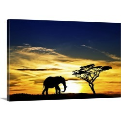 Large Gallery-Wrapped Canvas Wall Art Print 24 x 16 entitled A lone elephant in Africa
