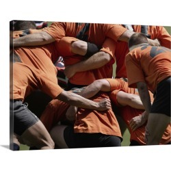 Large Gallery-Wrapped Canvas Wall Art Print 24 x 18 entitled Male rugby players in scrum, rear view found on Bargain Bro India from Great Big Canvas - Dynamic for $234.99