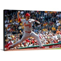 Large Solid-Faced Canvas Print Wall Art Print 30 x 20 entitled St Louis Cardinals v. Pittsburgh Pirates - Game One