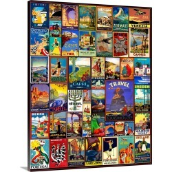 Large Gallery-Wrapped Canvas Wall Art Print 16 x 20 entitled World Travel Posters