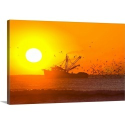 Large Gallery-Wrapped Canvas Wall Art Print 24 x 16 entitled A shrimp boat with hungry birds at sunrise
