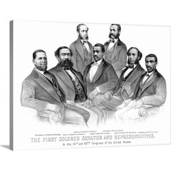 Large Solid-Faced Canvas Print Wall Art Print 40 x 30 entitled American History print of the first African American Senato...