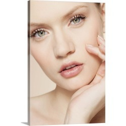 Large Gallery-Wrapped Canvas Wall Art Print 16 x 24 entitled Portrait of young woman touching face in studio found on Bargain Bro India from Great Big Canvas - Dynamic for $214.99