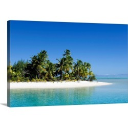 Large Solid-Faced Canvas Print Wall Art Print 30 x 20 entitled Palm fringed beaches, Cook Islands, South Pacific, Pacific found on Bargain Bro India from Great Big Canvas - Dynamic for $174.99