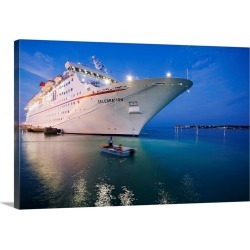 Large Gallery-Wrapped Canvas Wall Art Print 24 x 16 entitled Florida, Florida Keys, Key West, Cruise-ship approaching the ...