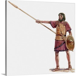 Large Gallery-Wrapped Canvas Wall Art Print 18 x 20 entitled Illustration of Joshua holding javelin at Battle of Ai, Book ... found on Bargain Bro India from Great Big Canvas - Dynamic for $204.99