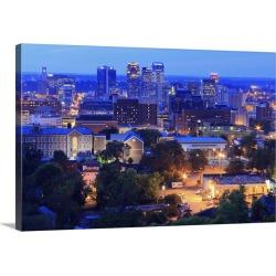 Large Gallery-Wrapped Canvas Wall Art Print 30 x 20 entitled Birmingham skyline at twilight, Birmingham, Alabama