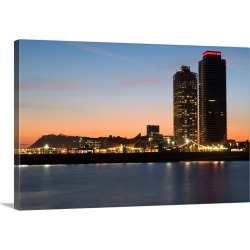 Large Gallery-Wrapped Canvas Wall Art Print 24 x 16 entitled Spain, Catalonia, Barcelona, Mapfre Tower and Arts Tower