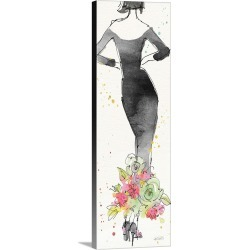 Large Solid-Faced Canvas Print Wall Art Print 12 x 36 entitled Floral Fashion I