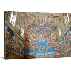 Large Solid-Faced Canvas Print Wall Art Print 30 x 20 entitled Fresco Paintings By Michelangelo In The Sistine Chapel