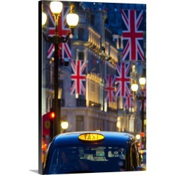 Large Solid-Faced Canvas Print Wall Art Print 20 x 30 entitled UK, England, London, Regent Street, Taxis and Union Jack Flags