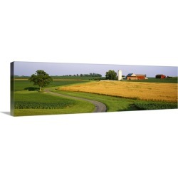 Large Gallery-Wrapped Canvas Wall Art Print 48 x 15 entitled Silo in a field, Mountville, Pennsylvania