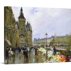 Large Solid-Faced Canvas Print Wall Art Print 30 x 24 entitled Flower Sellers by the Seine
