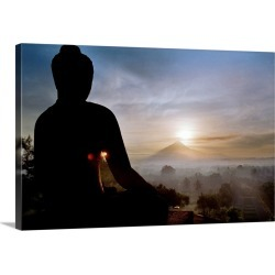 Large Solid-Faced Canvas Print Wall Art Print 30 x 20 entitled Asia, Indonesia, Buddhist temple of Borobudur, view towards...