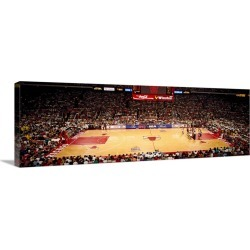 Large Gallery-Wrapped Canvas Wall Art Print 30 x 10 entitled NBA Finals Bulls vs Suns, Chicago Stadium, Chicago, Illinois