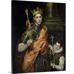 Large Solid-Faced Canvas Print Wall Art Print 24 x 30 entitled St. Louis (1215-70) and his Page, c.1585-90