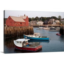 Large Gallery-Wrapped Canvas Wall Art Print 30 x 20 entitled Lobster fishing boats and row boats in Rockport harbor