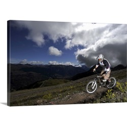 Large Gallery-Wrapped Canvas Wall Art Print 24 x 16 entitled Mountain bike rider on a dirt track