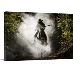 Large Solid-Faced Canvas Print Wall Art Print 30 x 20 entitled Silhouette of the rider on the horse found on Bargain Bro India from Great Big Canvas - Dynamic for $169.99
