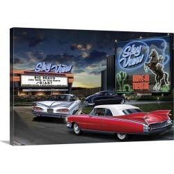 Large Gallery-Wrapped Canvas Wall Art Print 24 x 16 entitled Skyview Drive In
