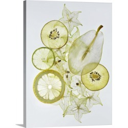 Large Gallery-Wrapped Canvas Wall Art Print 18 x 24 entitled Various sliced fruits (pear, kiwi, lemon, star fruit) found on Bargain Bro India from Great Big Canvas - Dynamic for $244.99