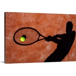 Large Solid-Faced Canvas Print Wall Art Print 30 x 20 entitled Tennis Player's Shadow on a Tennis Court
