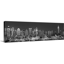 Large Gallery-Wrapped Canvas Wall Art Print 36 x 12 entitled New York, New York City, Panoramic view of the West side skyl...