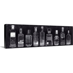 Large Solid-Faced Canvas Print Wall Art Print 48 x 16 entitled Bar Cart