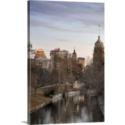 Large Gallery-Wrapped Canvas Wall Art Print 16 x 24 entitled Downtown San Antonio and Riverwalk in winter at dawn.