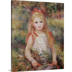 Large Solid-Faced Canvas Print Wall Art Print 24 x 30 entitled Little Girl Carrying Flowers, or The Little Gleaner, 1888