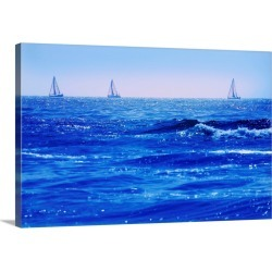 Large Solid-Faced Canvas Print Wall Art Print 30 x 20 entitled A Good Day For Sailing