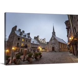 Large Gallery-Wrapped Canvas Wall Art Print 30 x 20 entitled Place Royale, Quebec City, Province of Quebec, Canada