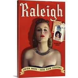 Large Solid-Faced Canvas Print Wall Art Print 20 x 30 entitled Raleigh Cigarettes