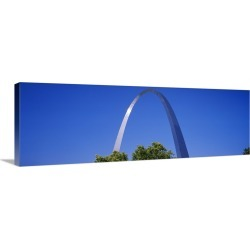 Large Solid-Faced Canvas Print Wall Art Print 48 x 16 entitled Low angle view of an arch, Gateway Arch, St. Louis, Missouri