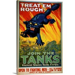 Large Solid-Faced Canvas Print Wall Art Print 20 x 30 entitled Treat Em Rough, Join The Tanks Poster By August William Hutaf found on Bargain Bro Philippines from Great Big Canvas for $194.99