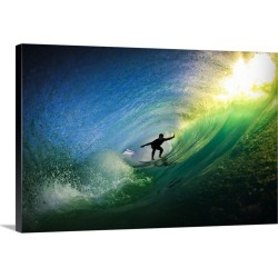 Large Solid-Faced Canvas Print Wall Art Print 30 x 20 entitled Surfer in Tube