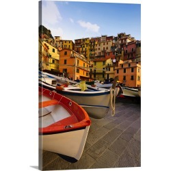 Large Gallery-Wrapped Canvas Wall Art Print 16 x 24 entitled Italy, Tuscany, Cinque Terre. Fishing boats at rest in Manaro... found on Bargain Bro India from Great Big Canvas - Dynamic for $214.99